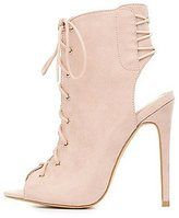 Charlotte Russe Lace-Up Slingback Peep Toe Booties