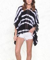 Paparazzi Black & White Tie Dye Sidetail Tunic