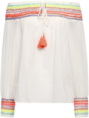 Alice + Olivia Sharyl Off-the-shoulder Embroidered Cotton-voile Top