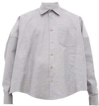 Bless Cotton-twill Poncho-shirt - Mens - Light Grey