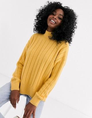New Look wide rib side split jumper in yellow