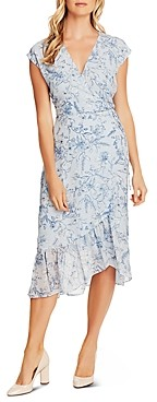 Vince Camuto Floral Print Faux-Wrap Dress