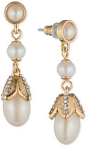 Carolee Gold-Tone Imitation Pearl & Crystal Drop Earrings