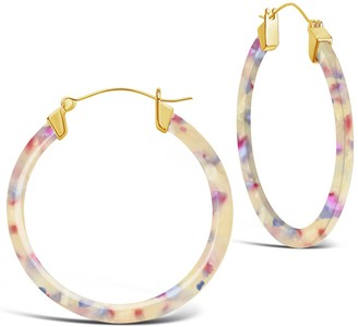 Sterling Forever White Lily Resin 50mm Hoop Earrings