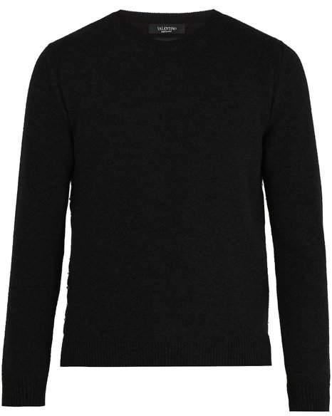 Valentino Rockstud Embellished Cashmere Sweater - Mens - Black