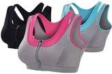 Senchanting Senchaning Zip Front Double Layer Seamless High Impact Workout Yoga Sports Bra (,XL)