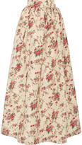 Miu Miu Floral-print Silk-faille Maxi Skirt - Cream