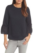 Gibson Women's Ruffle Sleeve Stripe Sweatshirt