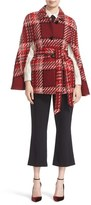Kate Spade Women's Chunky Plaid Belted Wool Blend Cape