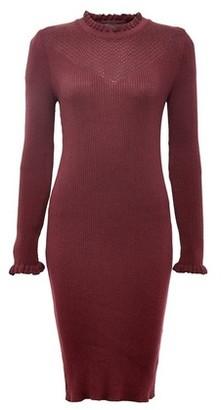Dorothy Perkins Womens Oxblood Ruffle Knitted Dress