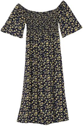 Cotton Emporium Quarter Sleeve Smocked Midi Dress