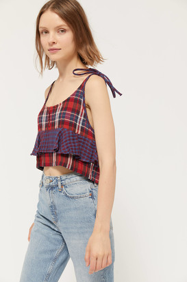 Urban Outfitters Jo Plaid Tie-Shoulder Cropped Top