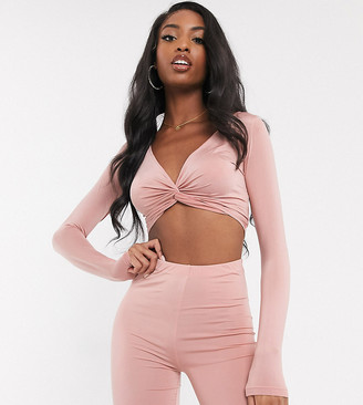 Asos Tall DESIGN Tall two-piece twist detail long sleeve top