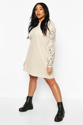 boohoo Plus Sun & Moon Oversized T-Shirt Dress