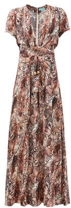 Melissa Odabash Lou Plunge-neck Snake-print Twill Maxi Wrap Dress - Brown Print