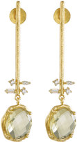 Indulgems Lemon Quartz & Crystal Linear Bar Drop Earrings