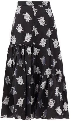 Erdem Gaura Floral Fil-coupe Twill Midi Skirt - Black Multi