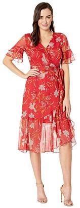 Vince Camuto Tiered Ruffle Sleeve Wildflower Wrap Dress