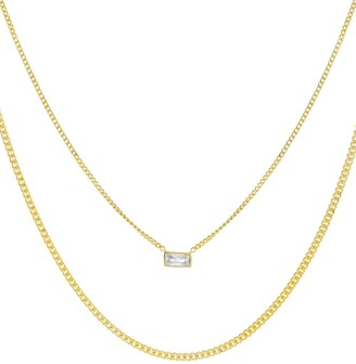 Adina's Jewels Cubic Zirconia Baguette Double Chain Necklace