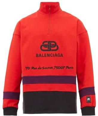 Balenciaga Rive Gauche Half Zip Cotton Sweatshirt - Mens - Red Navy