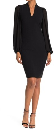Vince Camuto Kors Crepe Bodycon Dress With Chiffon Puff Sleeves