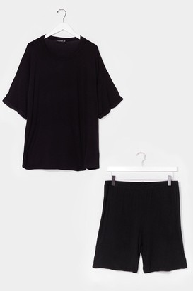 Nasty Gal Womens Sofa Surfin' Plus Oversized Tee and Shorts Set - Black - 20