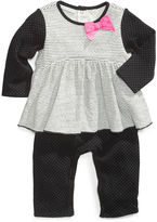 First Impressions Baby Coverall, Striped Dotted Layered Look