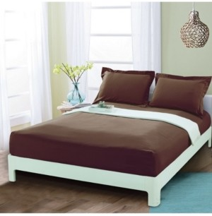 Elegant Comfort Silky Soft Single Fitted Sheet Queen Brown Bedding