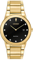 Citizen Mens Axiom Eco-Drive Diamond Goldtone Stainless Steel Bracelet Watch