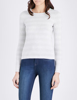The White Company Metallic-knit cotton-blend jumper