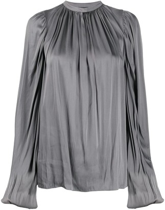 Rochas Satin Draped Blouse