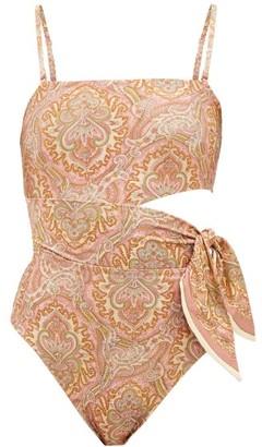 Zimmermann Freja Paisley-print Cutout Swimsuit - Orange Print