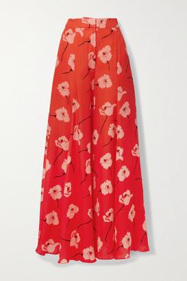 Carolina Herrera Floral-print Silk-georgette Wide-leg Pants - Orange