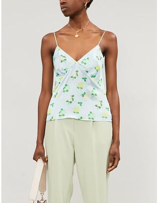 BERNADETTE June floral-print silk-sati top