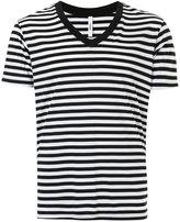 Attachment striped V-neck T-shirt