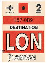 John Lewis Nick Cranston - Luggage Labels: London Unframed Print with Mount, 40 x 30cm