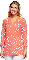 Liz Claiborne New York 3/4 Sleeve Polka Dot Print Tunic