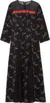 Suno Lace-paneled printed silk crepe de chine midi dress