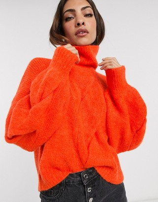 Y.A.S roll neck chunky cable knit sweater