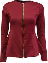 Crazy Girls Womens Ladies Fitted Dip Hem Peplum Style Zip Blazer Jacket