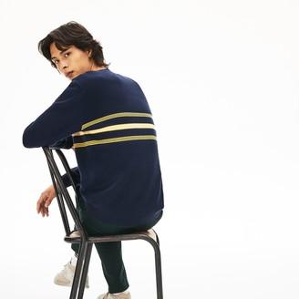 Lacoste Men's Crewneck Striped Texturized Pique Sweater