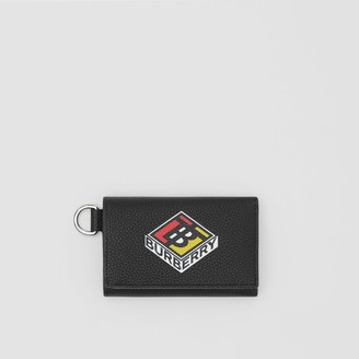 Burberry Small Logo Graphic Grainy Leather Folding Wallet