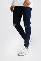 boohoo Mens Blue Skinny Jeans With Rip Knees, Blue