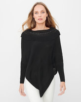 White House Black Market Black Fringe Embellished Sweater Poncho