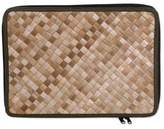 Natural Fiber and Cotton 15 Inch Laptop Sleeve from Bali, 'Uluwatu Pandan in Loden'