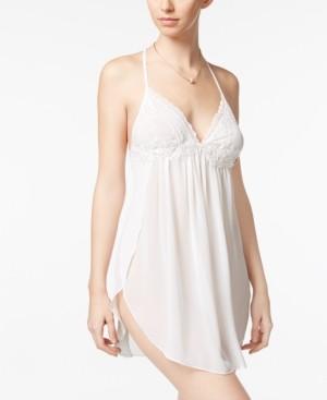 Linea Donatella Juliet Lace-Trimmed Chiffon Chemise Nightgown