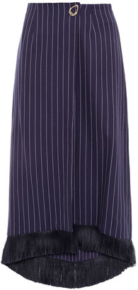 Mother of Pearl Hattie Fringe-trimmed Pinstriped Organic Cotton-twill Midi Wrap Skirt