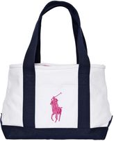 Ralph Lauren Logo Embroidered Cotton Canvas Tote Bag