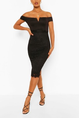 boohoo Bardot Bodycon Midi Dress