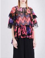 Alberta Ferretti Floral-print silk-chiffon top